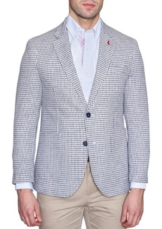 TailorByrd White Houndstooth Two Button Notch Lapel Modern Fit Sport Coat