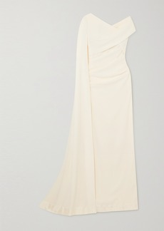 Talbot Runhof Cape-effect Off-the-shoulder Ruched Stretch-cady Gown