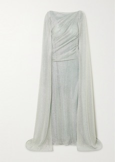 Talbot Runhof Cape-effect Ruched Metallic Voile Gown