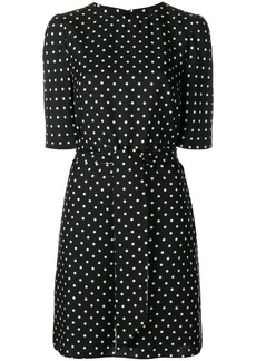 Talbot Runhof dotted tie waist dress