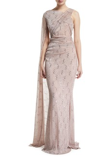 Talbot Runhof Draped Metallic-Lace One-Shoulder Gown