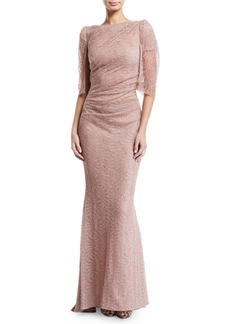 Talbot Runhof Draped Sheer-Sleeve Metallic Lace Gown