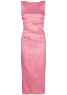 Talbot Runhof lamé fitted midi dress