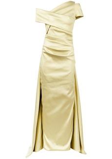 Talbot Runhof lamé off-shoulder dress