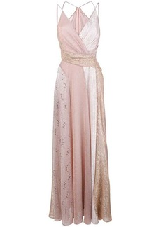 Talbot Runhof lamé panelled long dress
