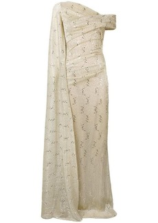 Talbot Runhof metallic draped gown
