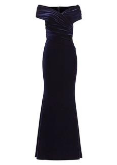 Talbot Runhof Off-The-Shoulder Draped Velvet Gown