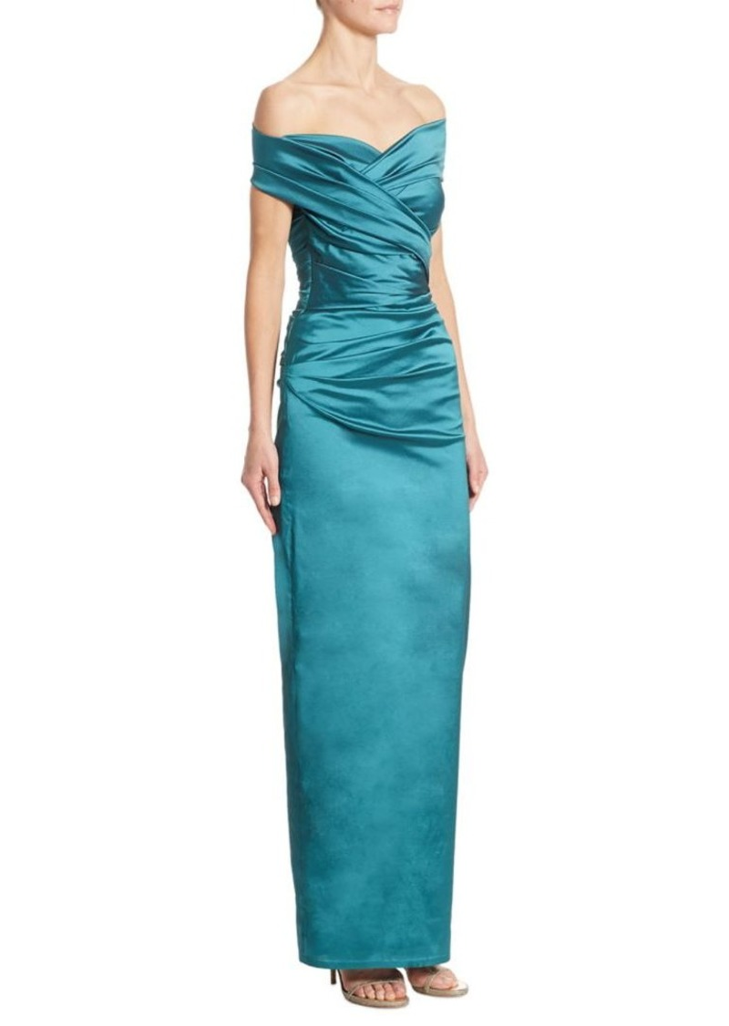 Talbot Runhof Off-The-Shoulder Silk Column Gown