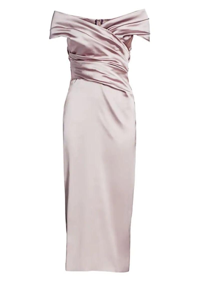 Talbot Runhof Off-The-Shoulder Stretch Satin Duchess Cocktail Dress
