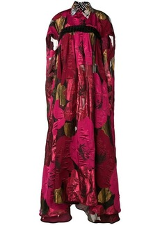 Talbot Runhof oversized poppy print cape dress