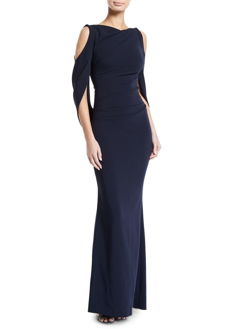 Talbot Runhof Ponceau Open-Shoulder Draped-Waist Gown