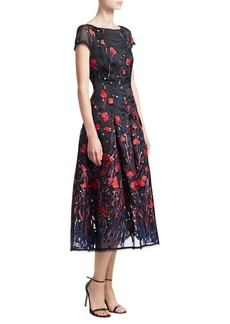 Talbot Runhof Poppy Field Silk Cap Sleeve Dress