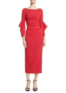Talbot Runhof Rodano Long Ruffle-Sleeve Ruched Stretch-Jersey Calf-Length Dress