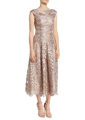 Talbot Runhof Rodea High-Neck Encrusted Lace Fit-and-Flare Tea-Length Cocktail Dress