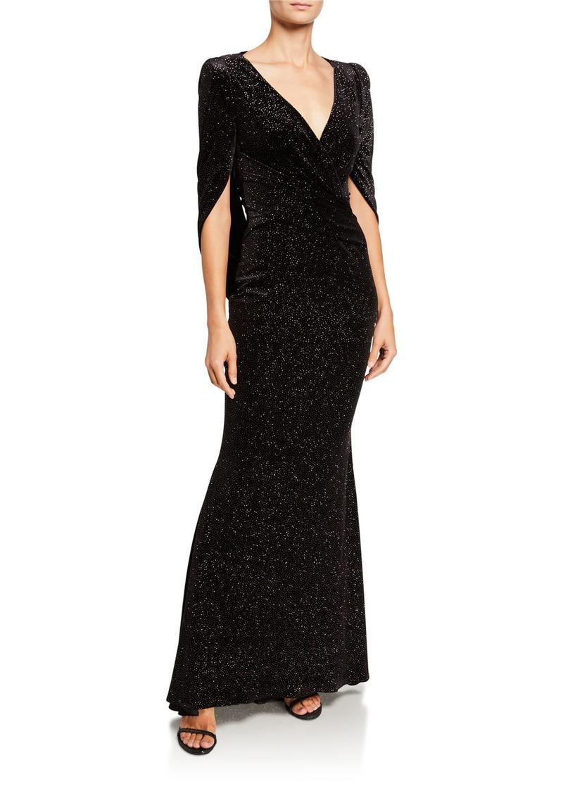 Talbot Runhof Rosin Stardust Velvet Jacquard Mermaid Evening Gown