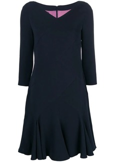 Talbot Runhof ruffle hem midi dress