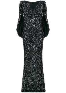 Talbot Runhof sequined cape dress