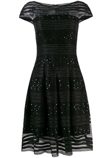 Talbot Runhof sequined lace flared dress