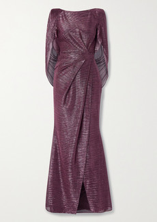 Talbot Runhof Socrates Cape-effect Draped Metallic Voile Gown