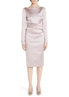 Talbot Runhof Bow Back Duchess Satin Sheath Dress