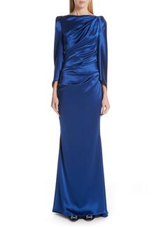 Talbot Runhof Long Sleeve Ruched Evening Dress