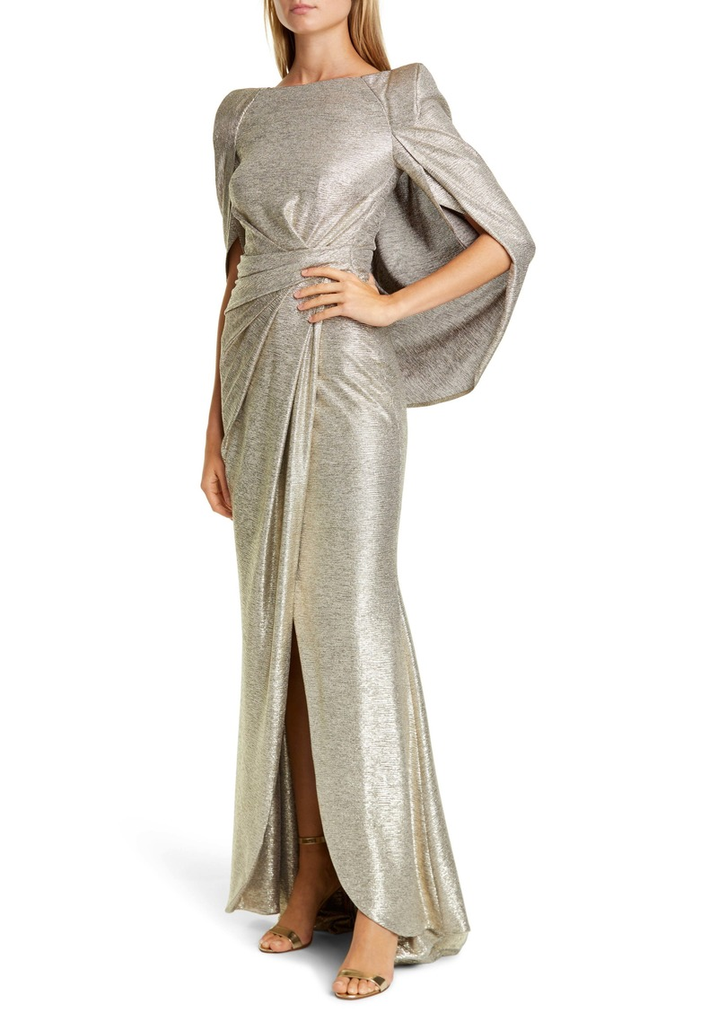 Talbot Runhof Drape Back Metallic Jersey Gown