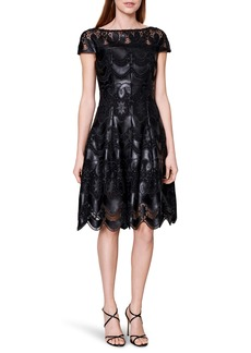 Talbot Runhof Faux Leather Lace Cocktail Dress