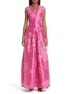Talbot Runhof Floral V-Neck Evening Dress