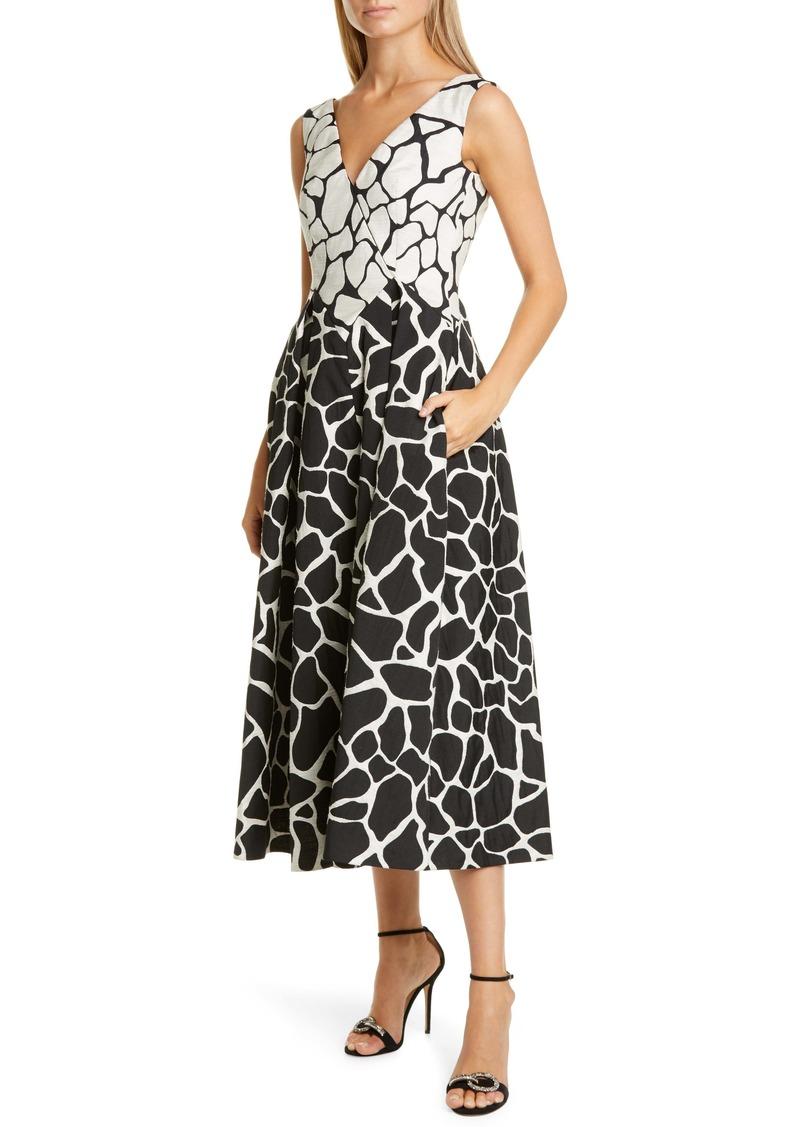 Talbot Runhof Giraffe Jacquard Midi Dress