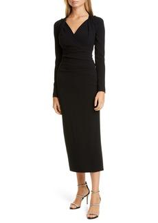 Talbot Runhof Long Sleeve Crepe Cocktail Dress