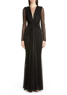 Talbot Runhof Long Sleeve Metallic Evening Gown
