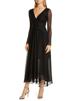 Talbot Runhof Long Sleeve Metallic Voile Gown