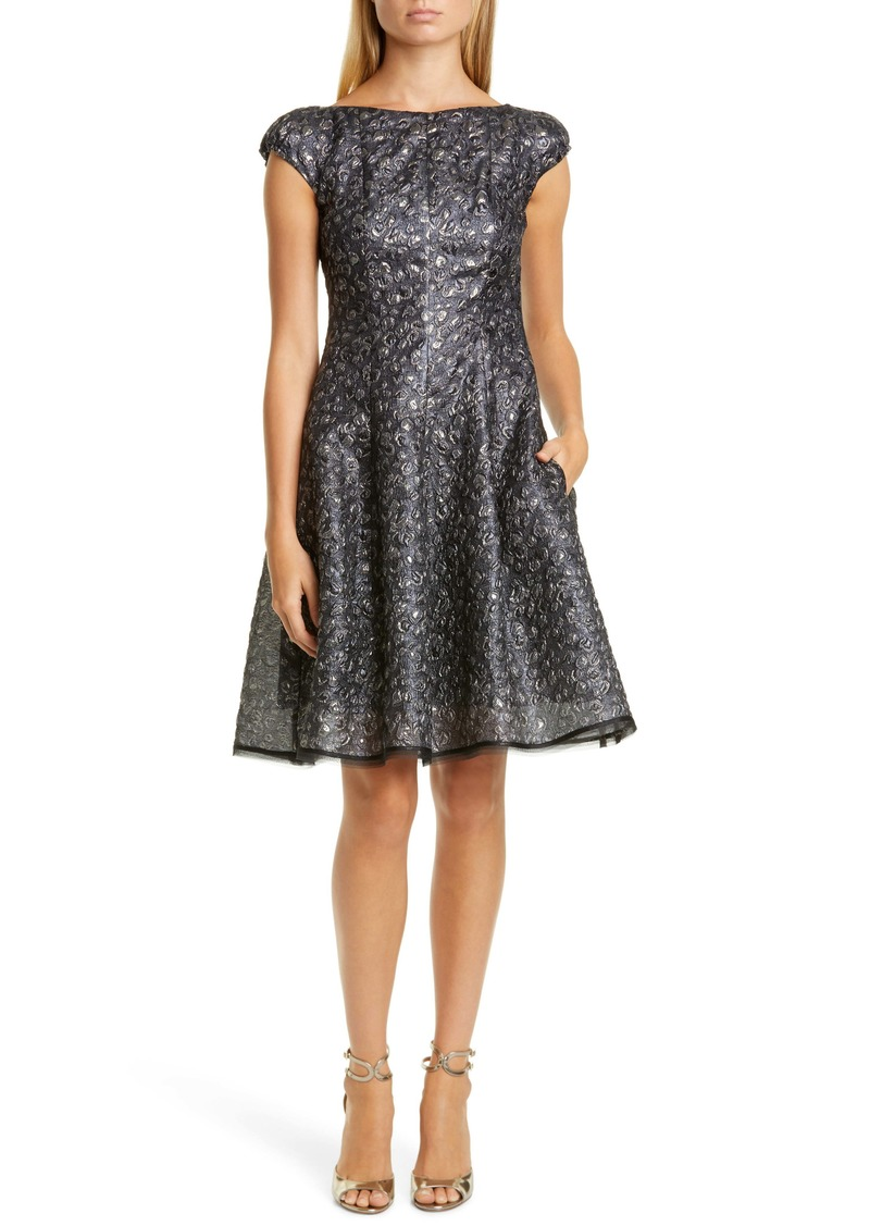 Talbot Runhof Metallic Petal Cloqué Dress