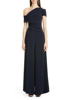Talbot Runhof One-Shoulder Stretch Crepe Jumpsuit