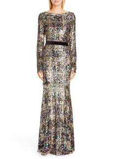 Talbot Runhof Patina Sequin Plaid Long Sleeve Gown