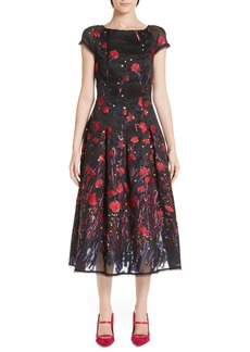 Talbot Runhof Poppy Fil Coupé Tea Length Dress