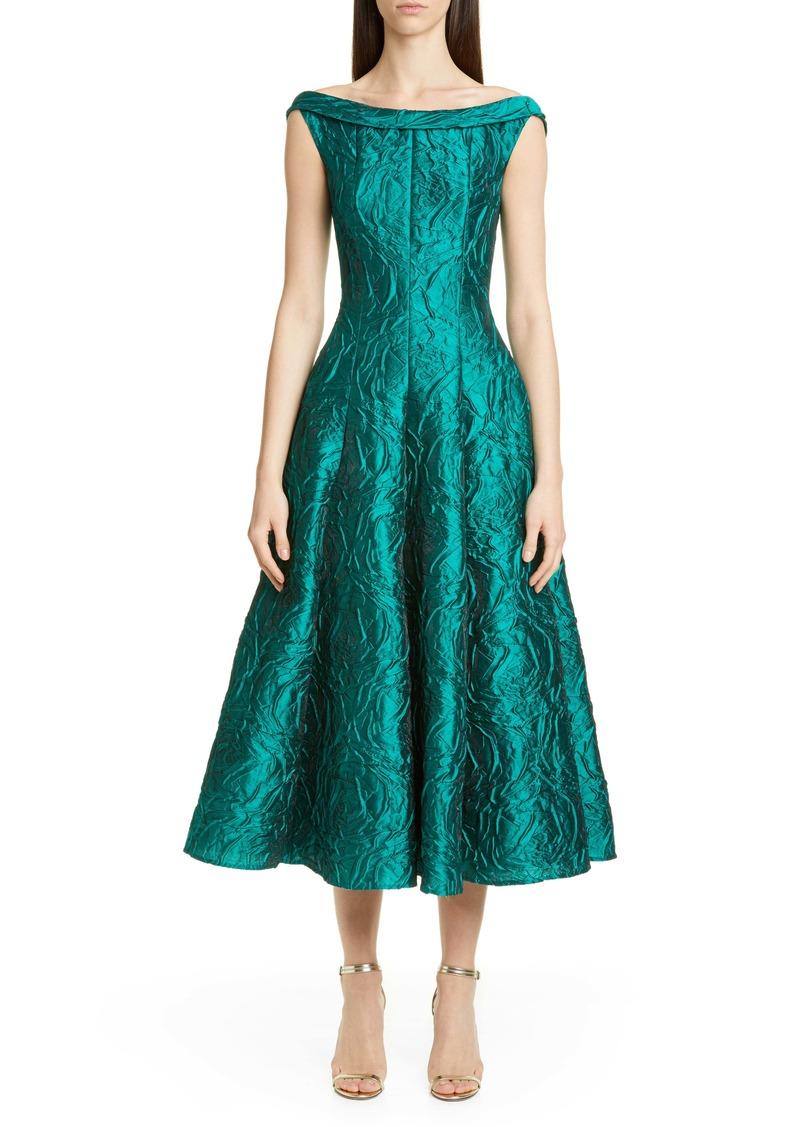 Talbot Runhof Rose Jacquard Fit & Flare Midi Dress