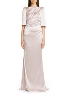 Talbot Runhof Ruched Satin Column Gown