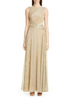 Talbot Runhof Sequin Metallic Voile Gown