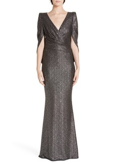 Talbot Runhof Sequined V-Neck Evening Dress