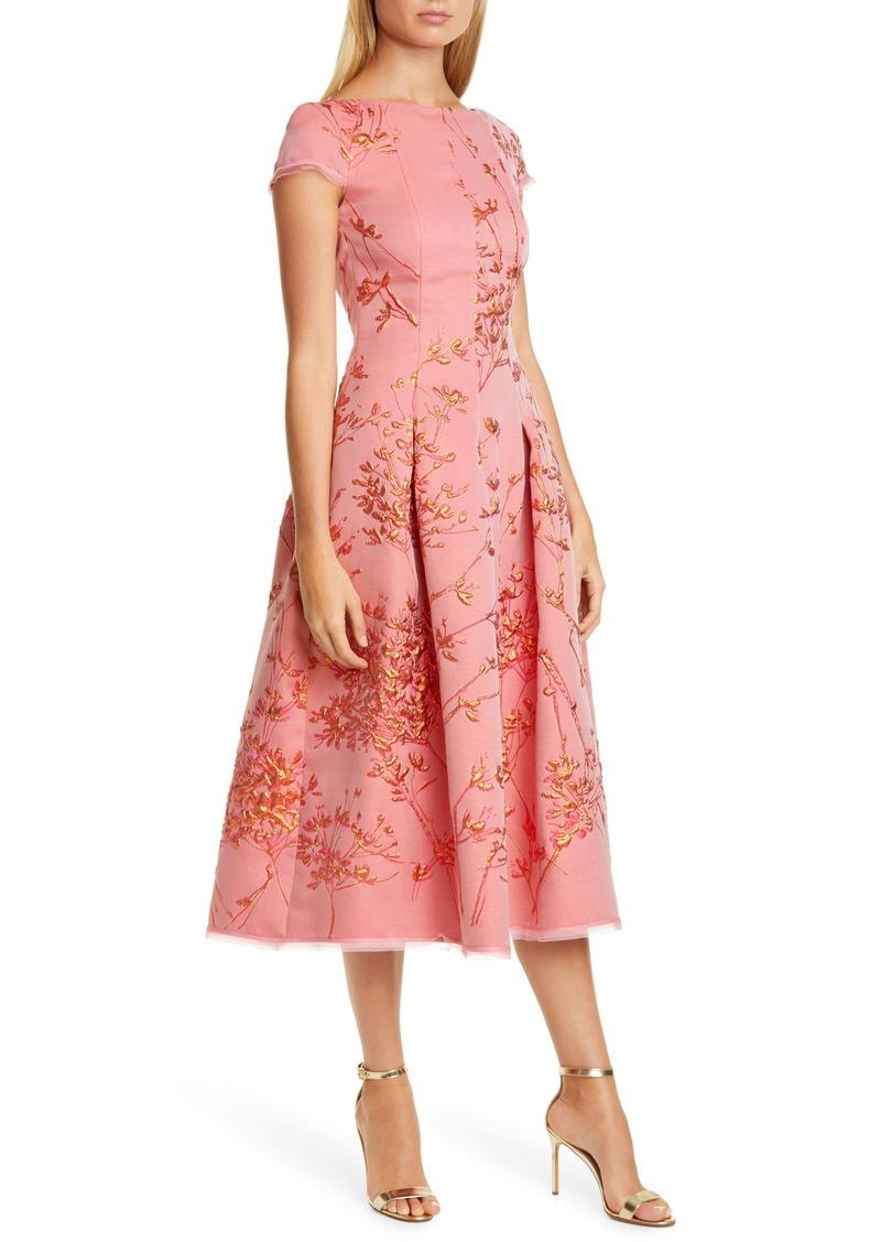 Talbot Runhof Silk Jacquard Twig Fit & Flare Midi Dress