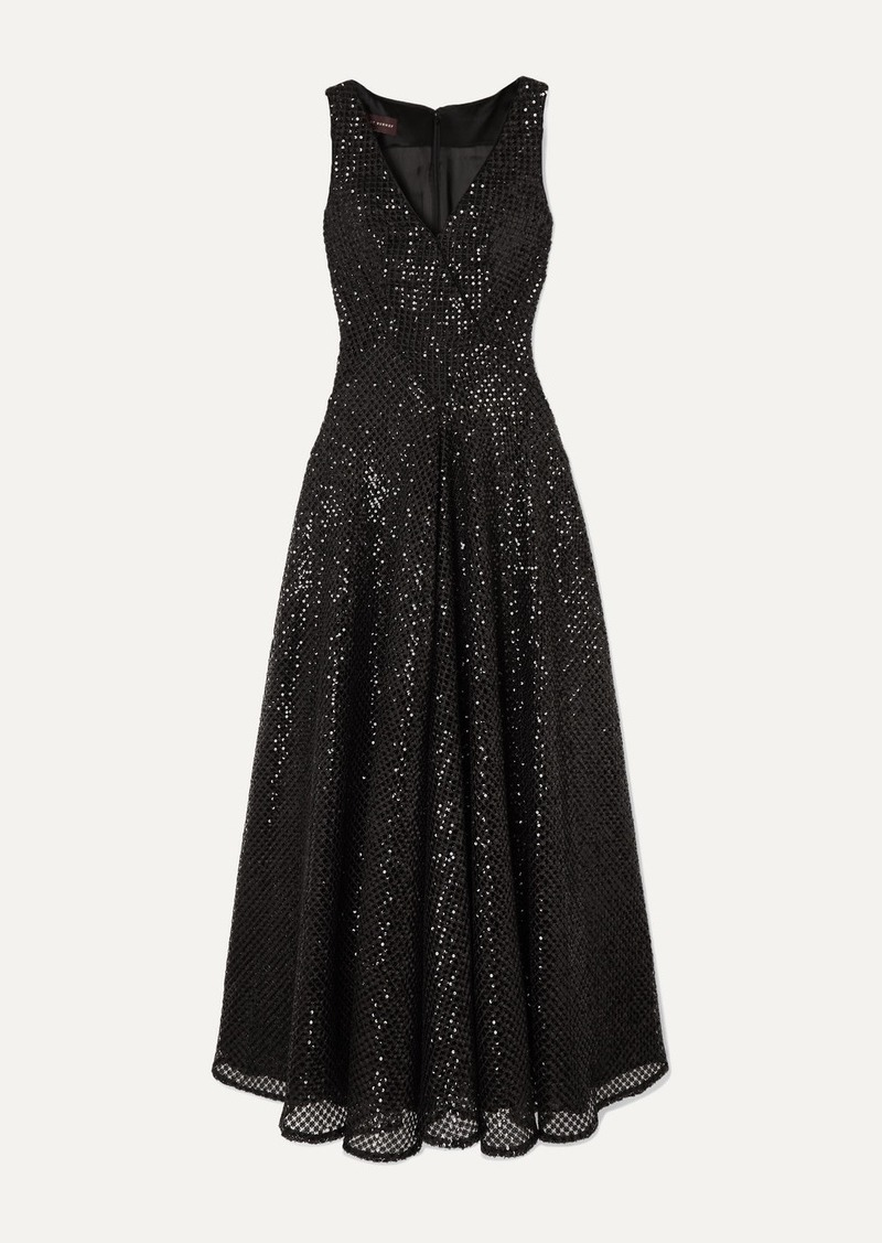 Talbot Runhof Tottori Sequined Macramé Gown