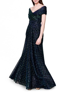 Women's Talbot Runhof Sprinkled Metallic Off The Shoulder Voile Gown