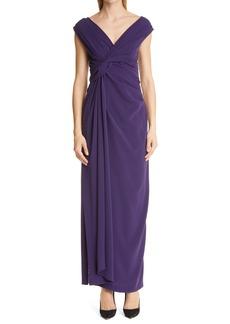 Women's Talbot Runhof Twist Detail Stretch Crepe Gown