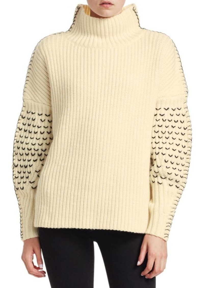 7abbb69cb322 Tanya Taylor Alice Embroidered Turtleneck Knit Wool Sweater