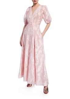 Tanya Taylor Ariela Floral-Embroidered Jacquard Maxi Dress
