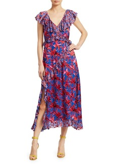 Tanya Taylor Arielle Paisley Embroidered & Leaf Print Ruffled Dress