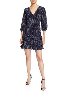 Tanya Taylor Bernadina Printed 3/4-Sleeve Dress
