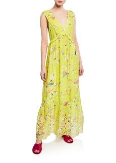 Tanya Taylor Catalina Floral-Print V-Neck Sleeveless Maxi Dress
