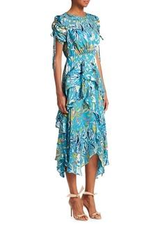 Tanya Taylor Cosette Floral Ruffle Silk-Blend A-Line Handkerchief Dress